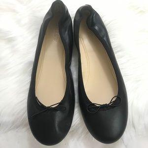 JCREW Evie Black Leather Ballet Flats Sz 8 H5486